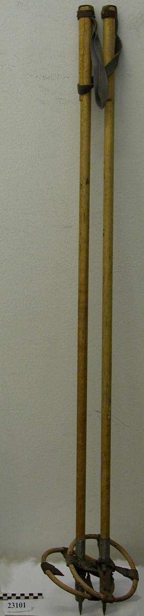 Ett par skidstavar av ihåligt trä. (Inne i den ena staven finns ett löst föremål). I nedre änden försedda med kringlor av vidje, fasthållna av vardera fyra läderremmar som nitats i varje ände med dubbla nitar. Stavens nedersta del täckt av metallbeslag och metallspets. Genom metallbeslaget sitter saxsprintar som håller fast läderremmarna. I övre änden är staven försedd med dels en förstärkning som löper längs 200 mm (handtag), dels en tygrem (handlovsfäste), fasthållen av ett läderband som nitats fast i staven med en genomgående kopparnit med brickor. Vardera staven har en Tre Kronor- symbol som bränts in strax ovanför mitten.