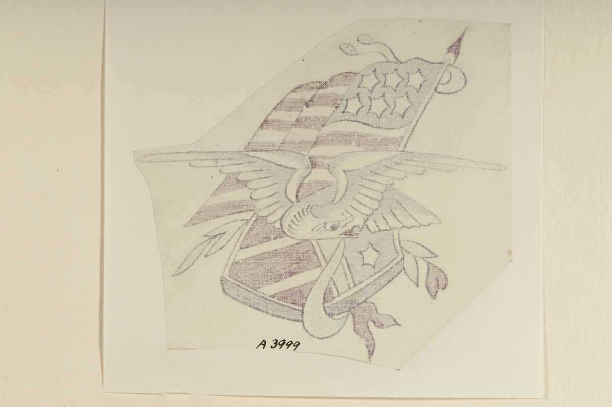 Tatueringsförlaga. En flygande örn framför en amerikansk flagga och sköld.