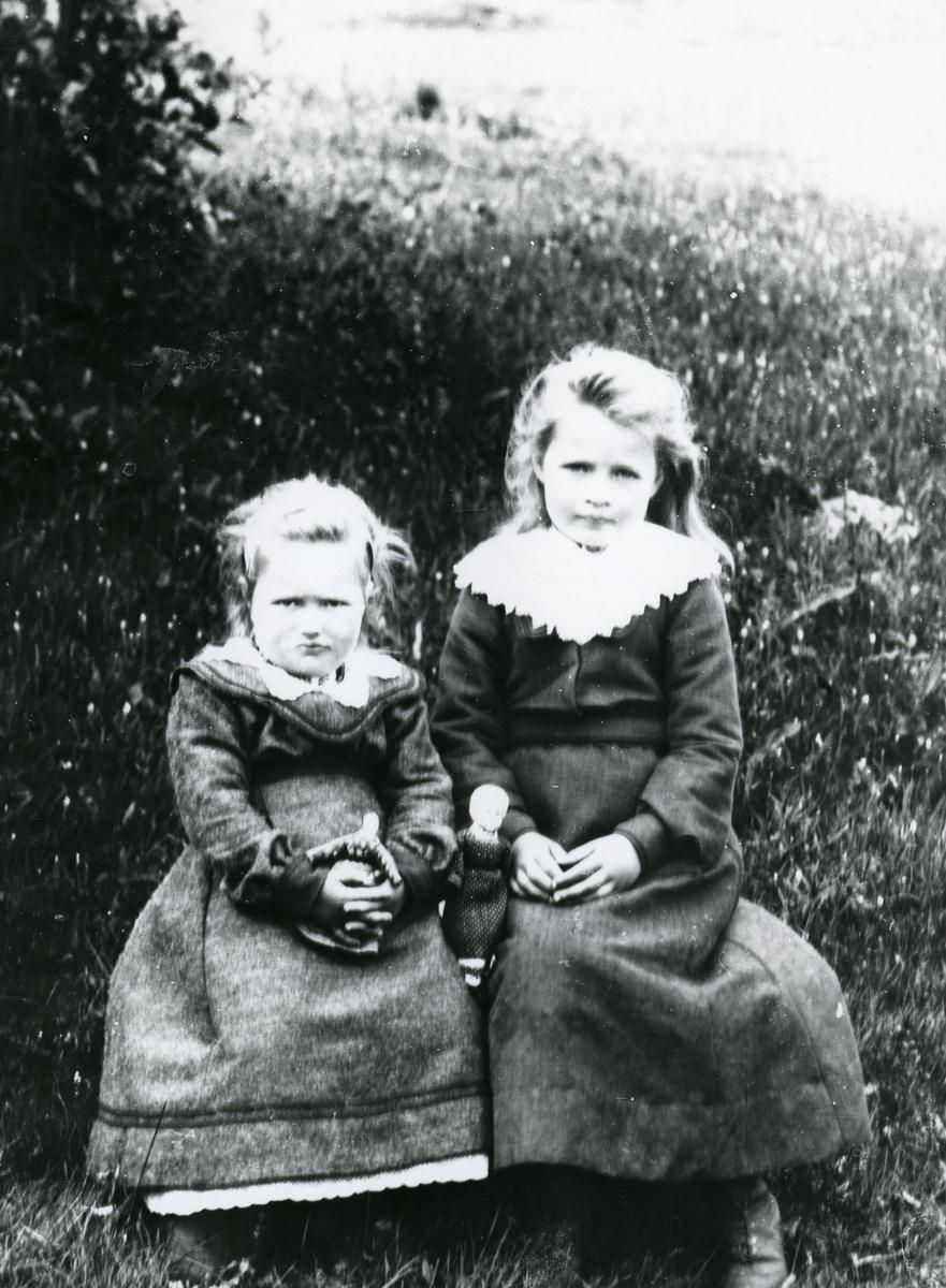To jenter med dokker, sittende i gress