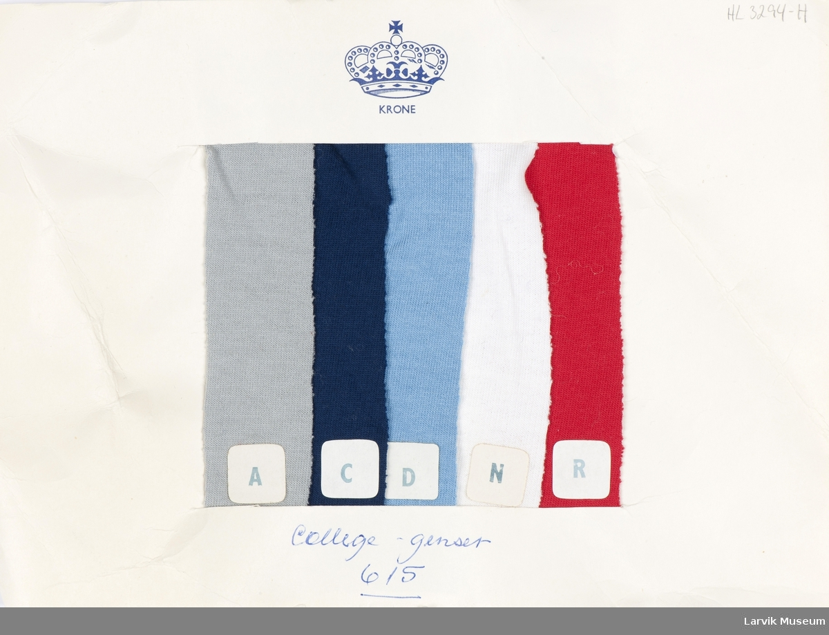 1 ark med 5 stoffprøver i forskjellige farger, nr. 615 til College-genser - stretchkvalitet