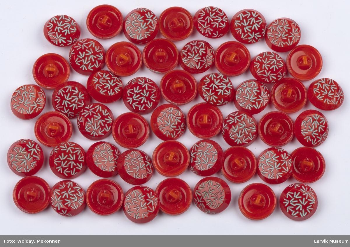 Runde opphøyde knapper med hull til festing under