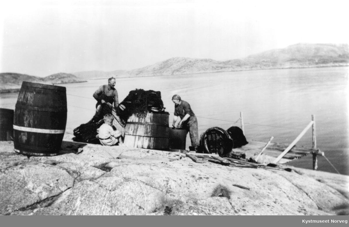 Inge Aune, Asbjørn Ørsnes og kona Aslaug Laukvik Aune, barking av laksenøter