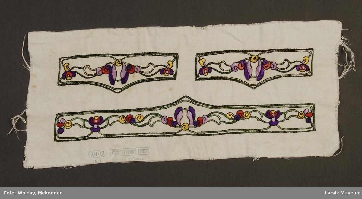Form: linlerret med broderi i silke,ant. lomme-