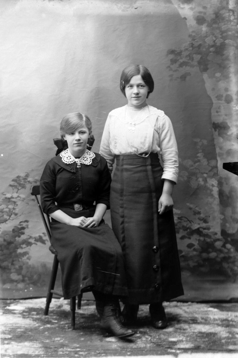 Studioportrett i helfigur av to unge kvinner.