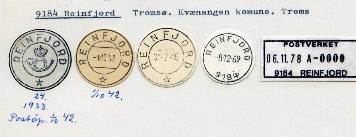 Stempelkatalog 9184 Reinfjord, Tromsø, Kvænangen, Troms