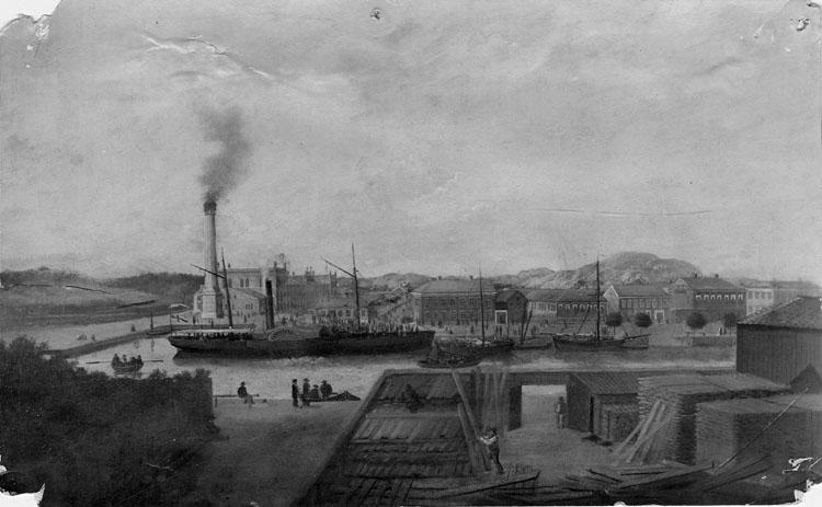 Norra Hamngatan med Kampenhof och ångbåten Uddewalla