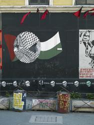 Blitzhuset, graffitti, barrikade