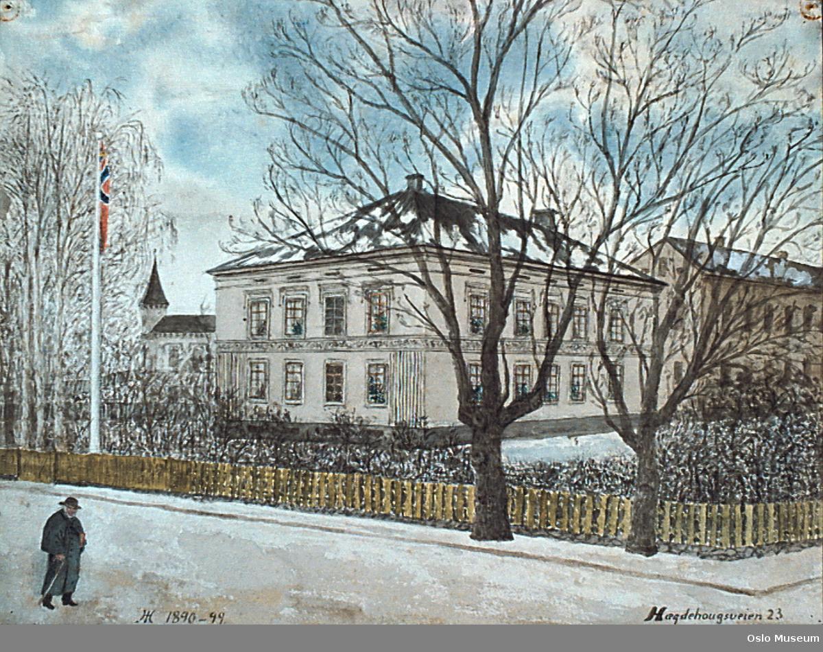 arkitektur, gateløp, villa, vinter, flagg med unionsmerke