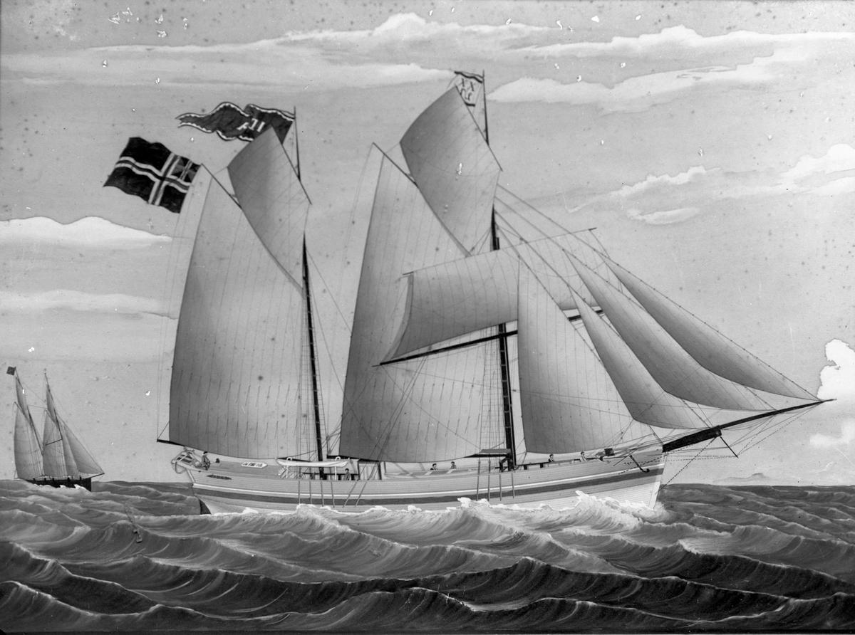 """Avfotografert maleri av galeasen """"Ida"""" fra Haugesund for fulle seil i åpent farvann. Bak til venstre seiler en annen galeas."""