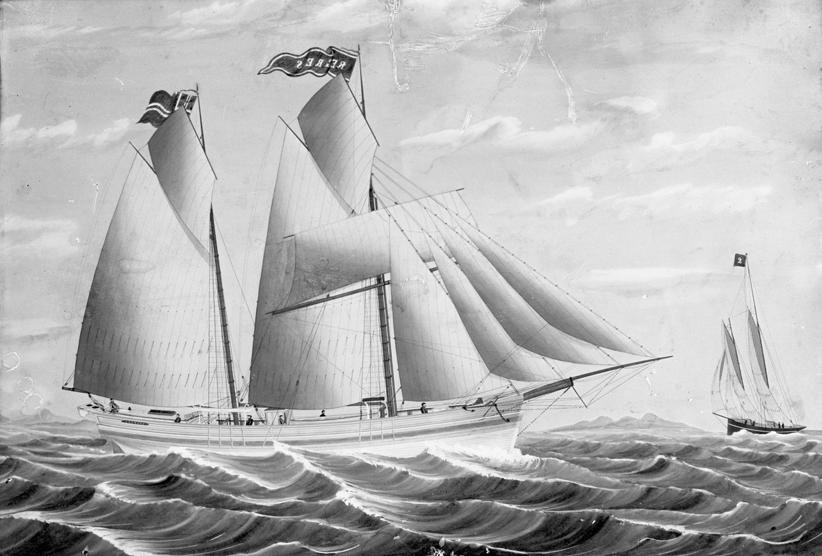 """Avfotografert maleri av galeasen """"Regres"""" i åpent farvann. Bak til venstre seiler ett annet seilskip, med et to-tall på vimpelen i masta."""