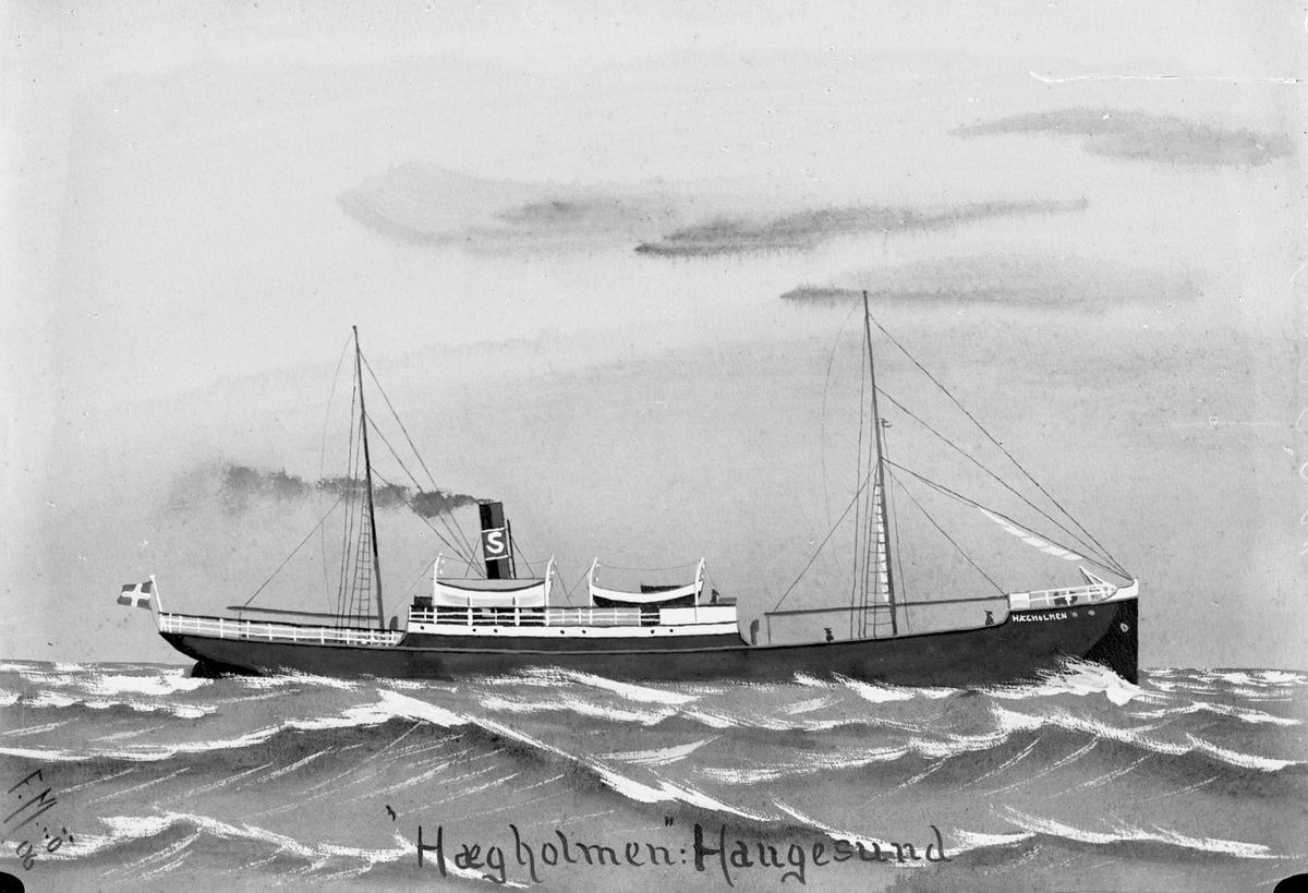 """Avfotografert maleri av dampskipet D/S """"Hægholmen"""" i åpent farvann."""