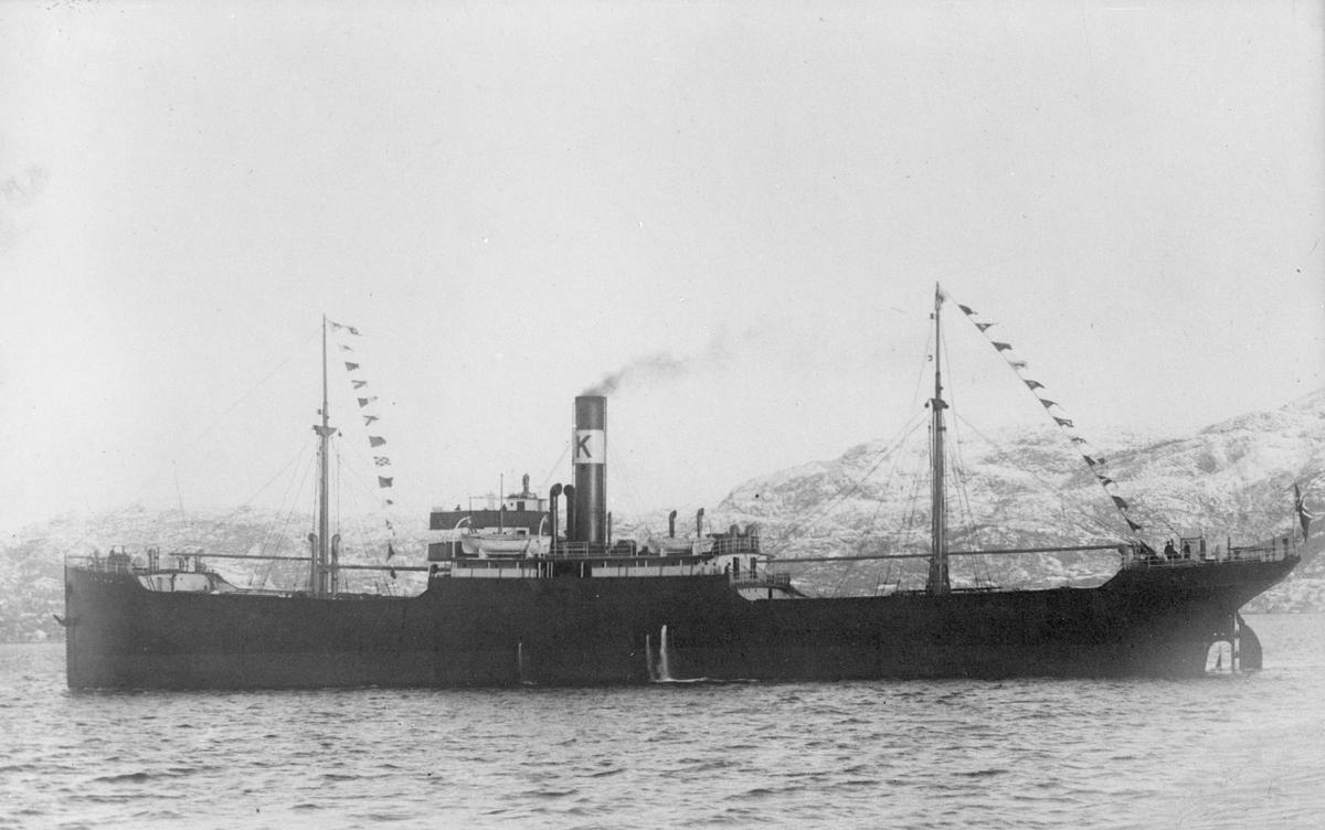 """Dampskipet D/S """"Lisbeth"""" på vei langs en snøkledd kyst."""