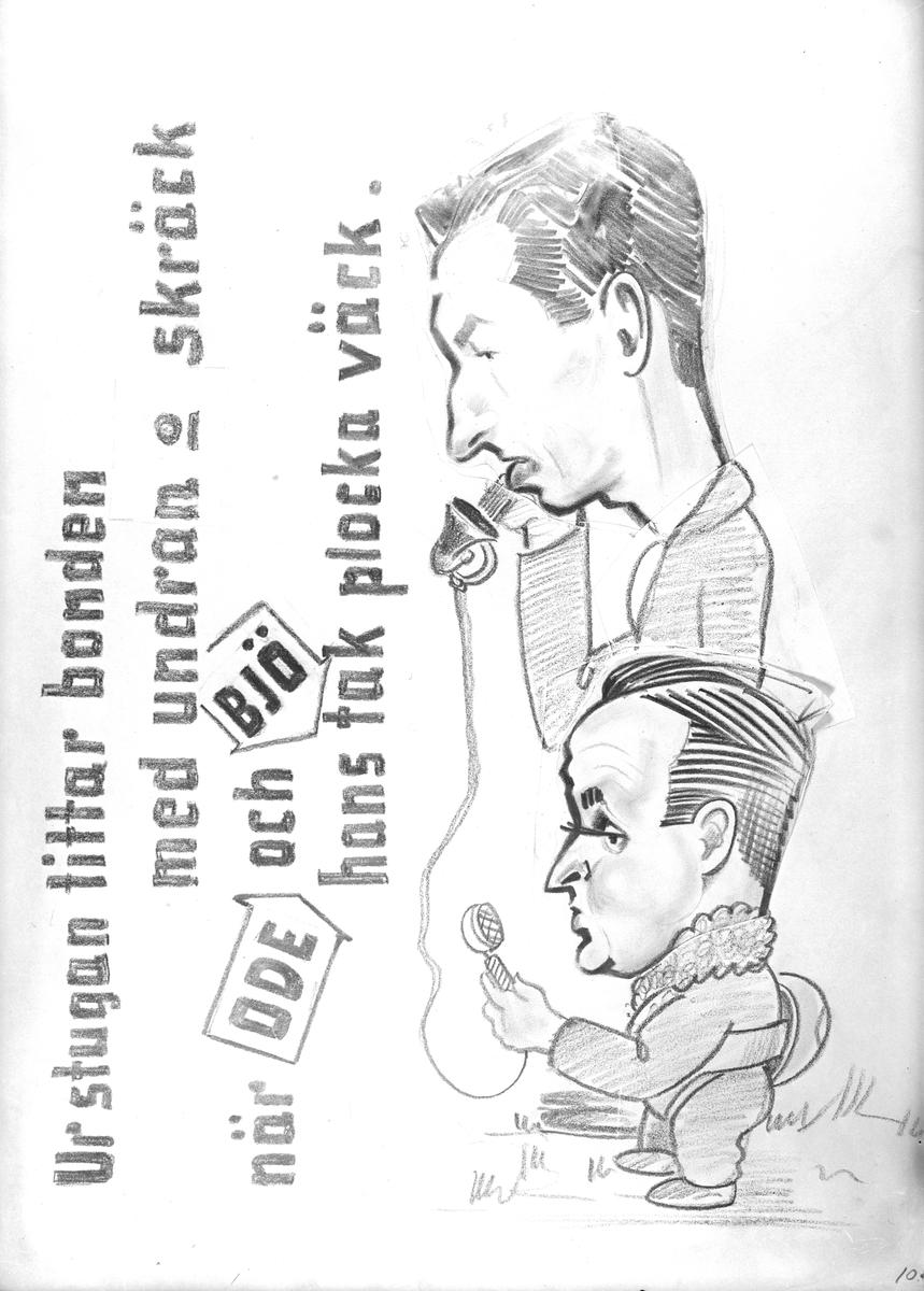 Karikatyrbild av militärer ur flygvapnet, 1930-tal.  Märkt 'ODE', 'BJÖ'.   Avfotograferad teckning.