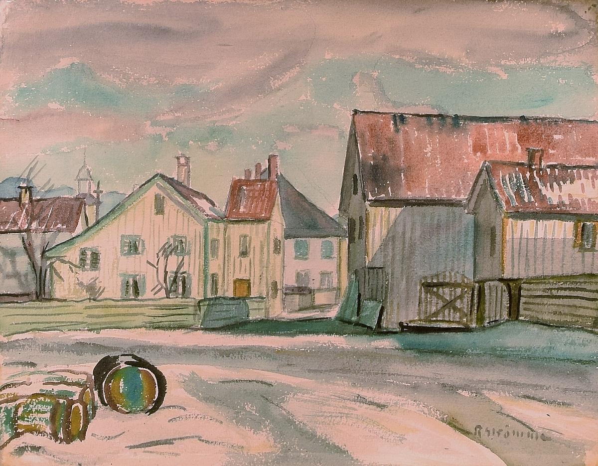 Maleriet viser en bygate med hvitmalte trehus. Helt fremst ligger det et par tønner og i bakgrunnen kan det skimtes en kirke.   Tollbodbrygga mot Elvegata – Beers hus (det gamle museet) er i forgrunnen.