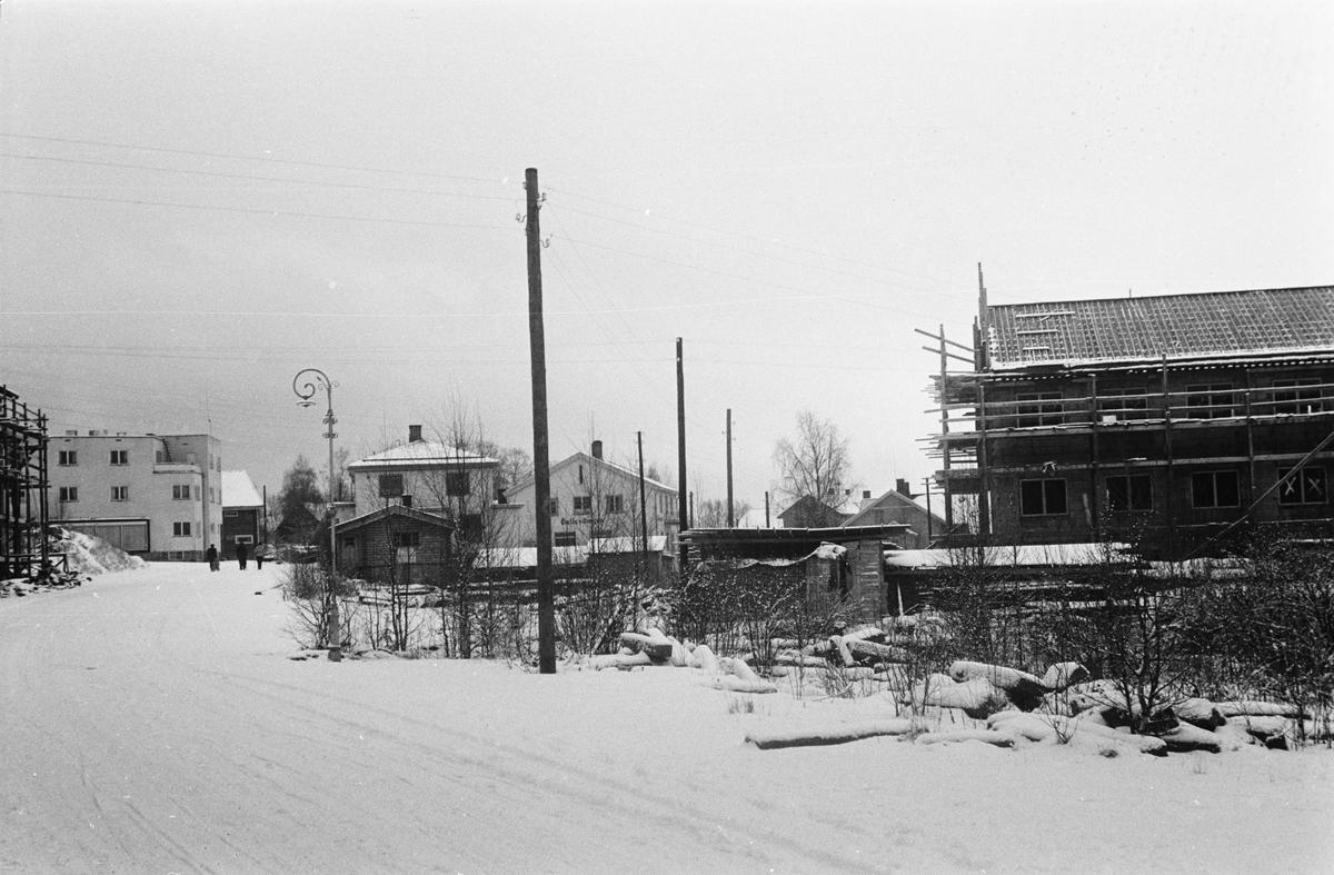 St. Olavs gate. Leiret, Elverum. Ruiner og gjenoppbygging.