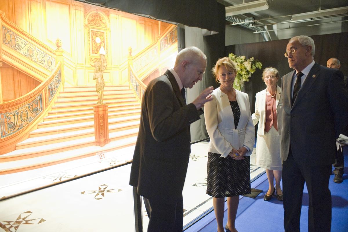 Titanic utställning, invigningen 28 maj 2009. Kulturminister Lena Adelsohn Liljeroth.