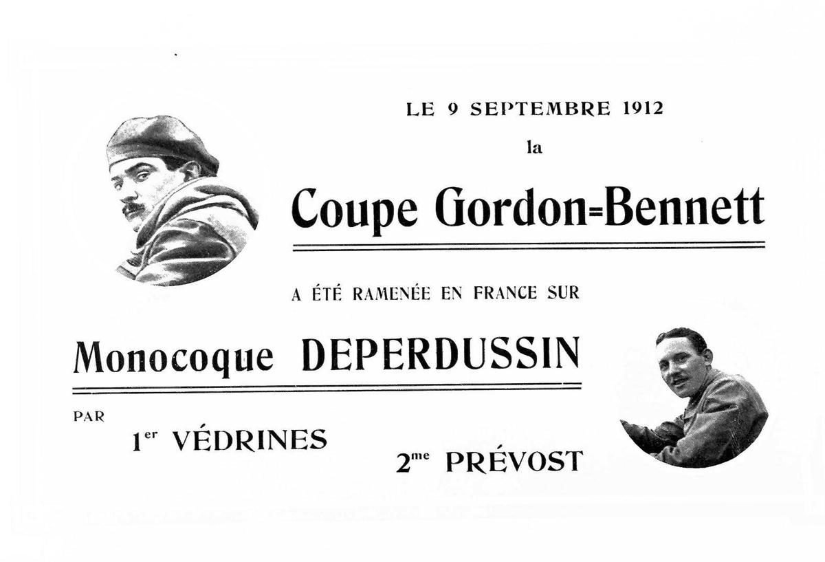 Programplakat Aeroplanes, Deperdussin, Coupe, Gordon-Bennet