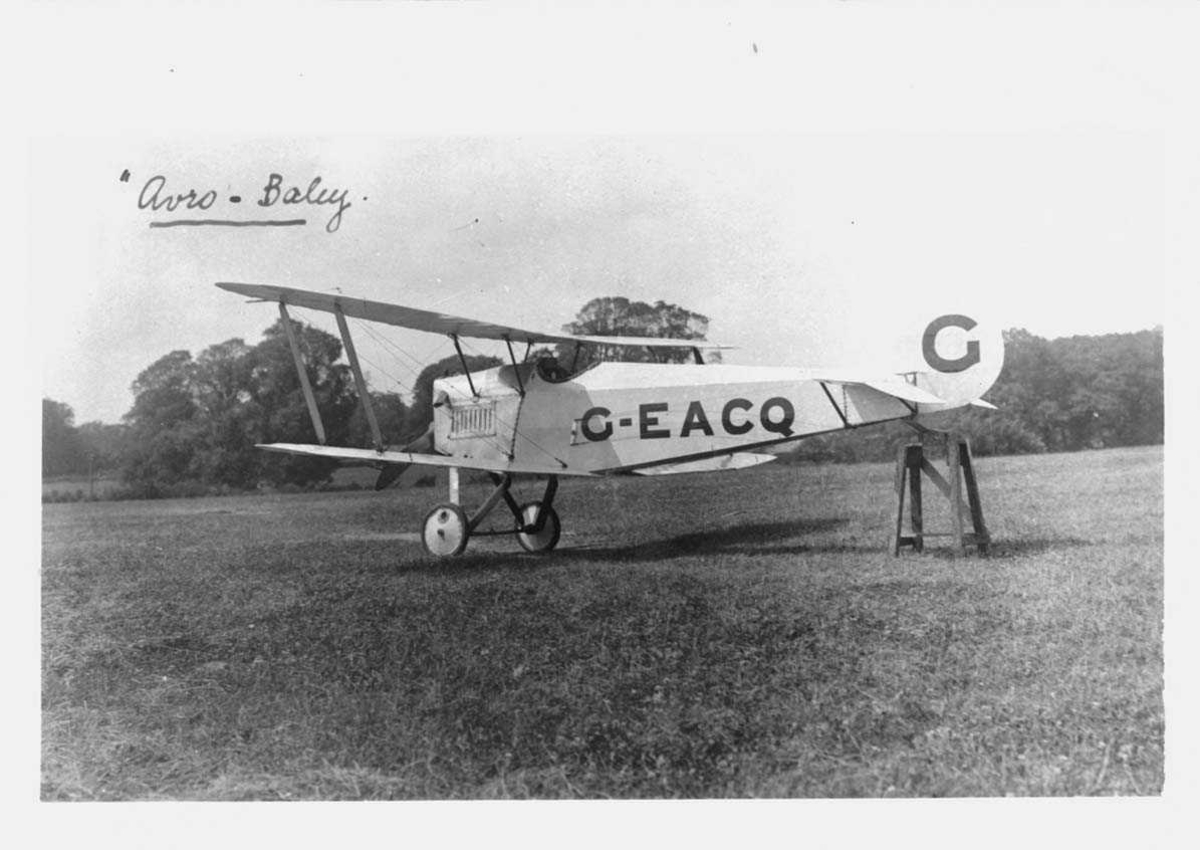 Ett på bakken, Avro Baby. Merket C-EACQ.
