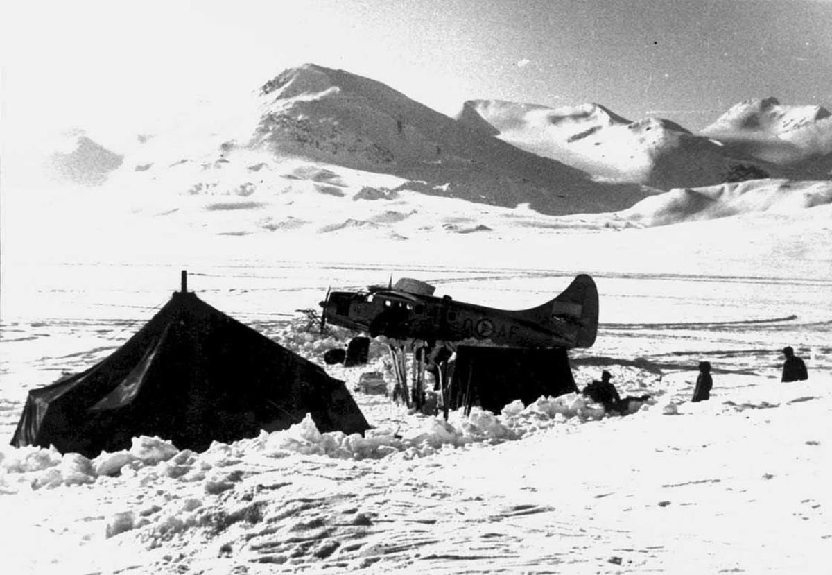 Snødekt landskap. Ett fly på bakken, Otter OAF. To telt, noe utstyr og noen personer ved flyet.