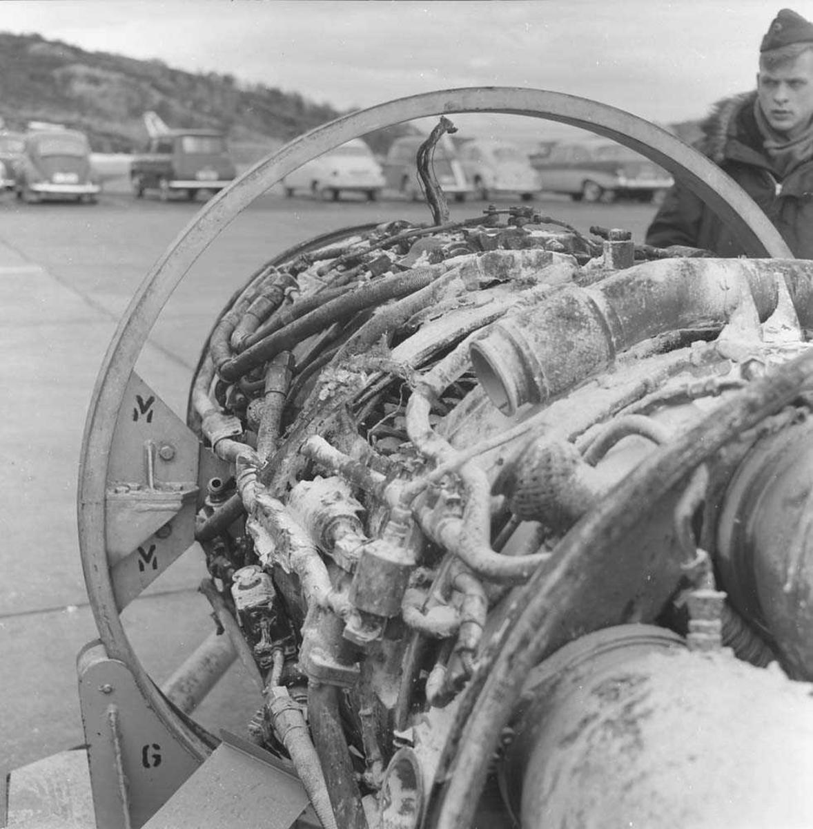Brann i F-86-K, Sabre, RI-O, 334 skvadron, Bodø flystasjon.