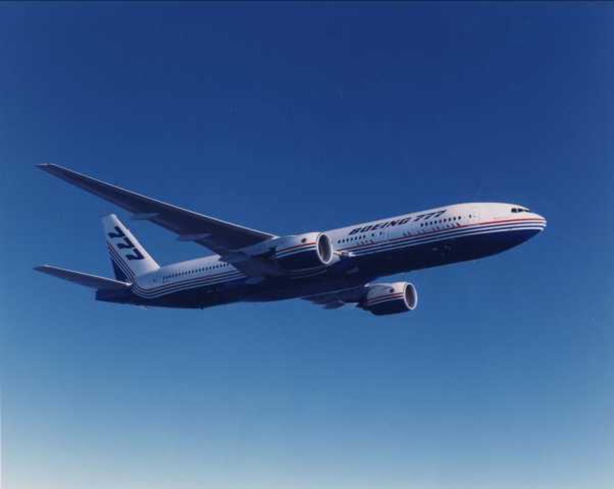 Ett fly i luften. Boeing 777-200.