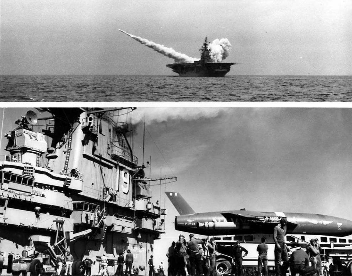 To bilder fra hangarskipet USS Princeton Øverst: En missile skytes opp fra hangarskipet. Nederst: En missile på dekket hangarskipet. Flere personer på dekket.