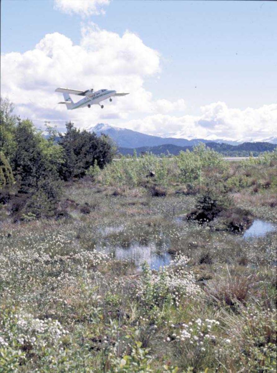 Lufthavn/Flyplass. Ett fly, DHC-6-300 Twin Otter fra Widerøe.