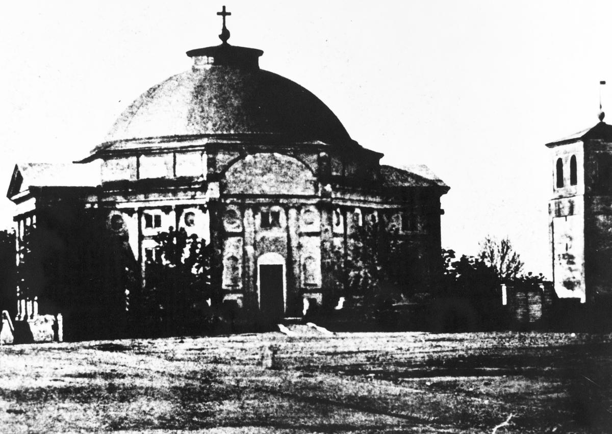 Stortorget med tyska kyrkan, t.h församlingens klockstapel som revs 1862, omkring 1850-60 talet.