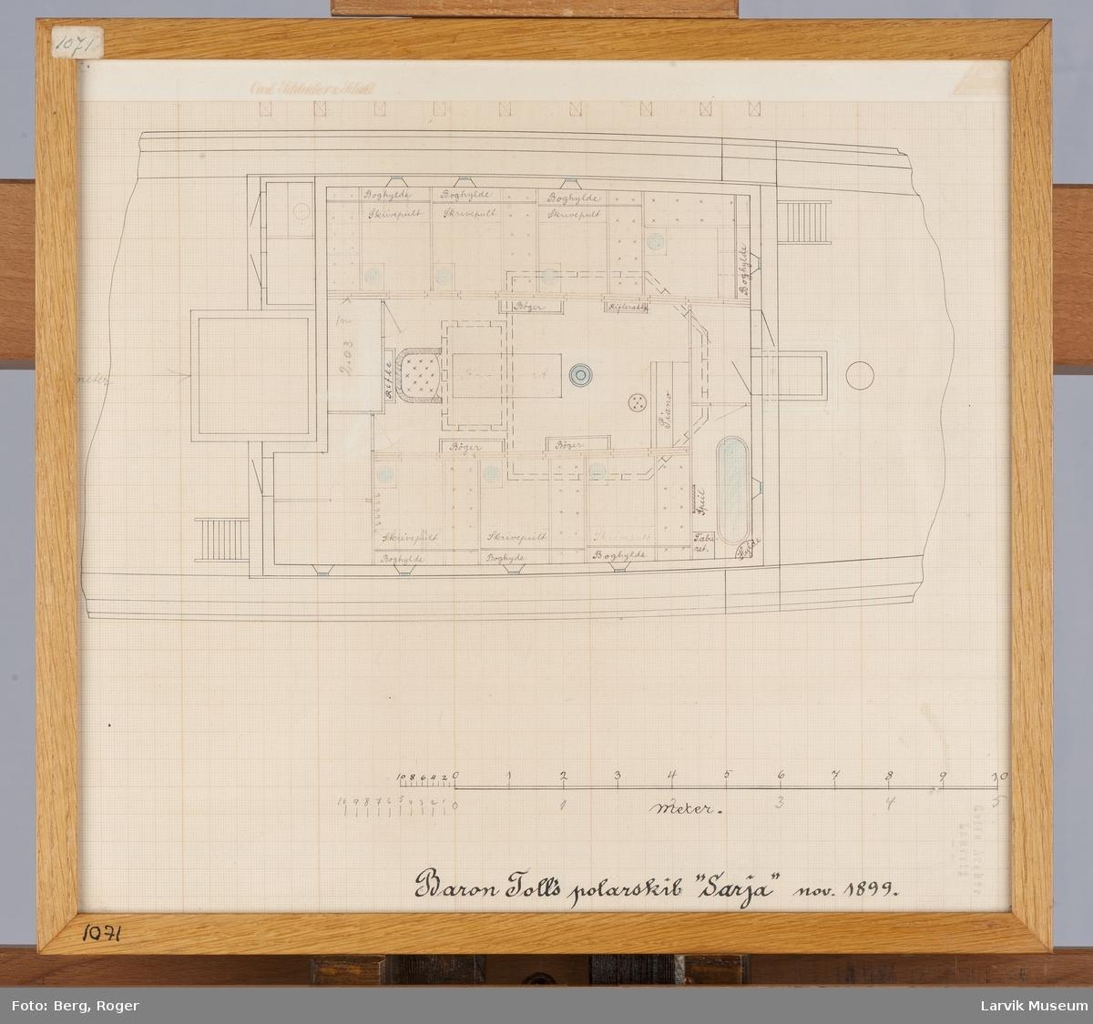 """Interiørtegning Baron Toll's polarskib """"Sarja"""" nov. 1899."""