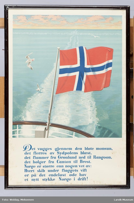 Det norske flagg som vaier fra stanger akterut. Med diktet av Grieg fra krigens dager. 1959.