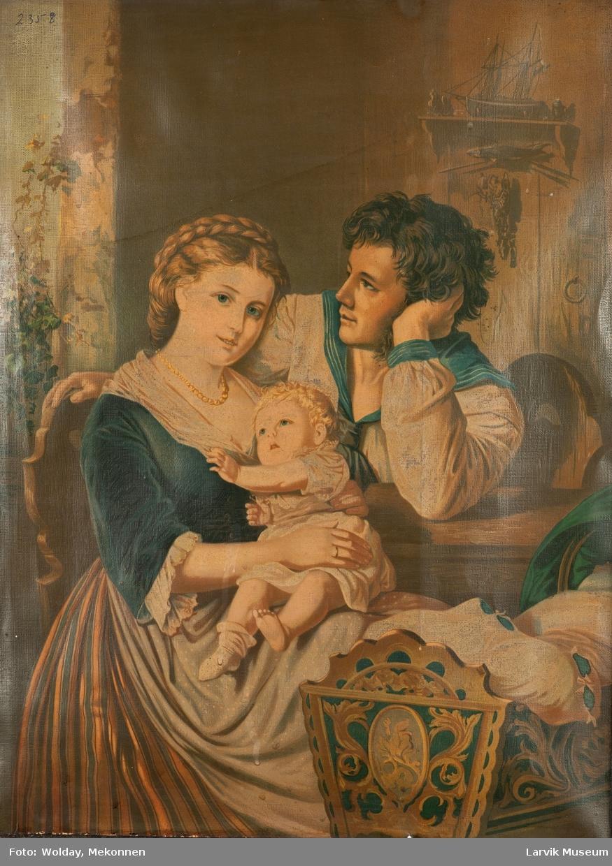 Faragelagt bilde av mann, kvinne og et lite barn på mors fang. Bred sort ramme