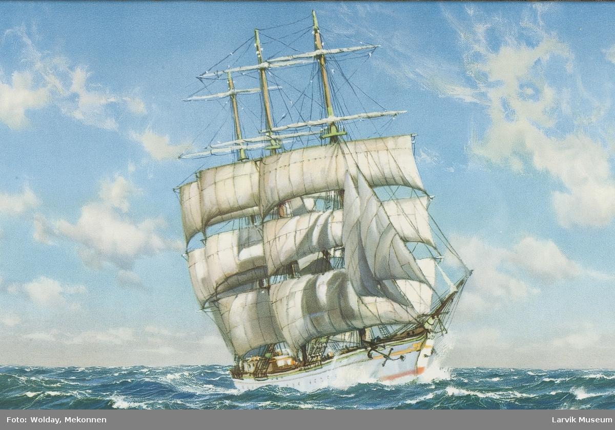 Fargetrykk av 3-masted fullriggger.
