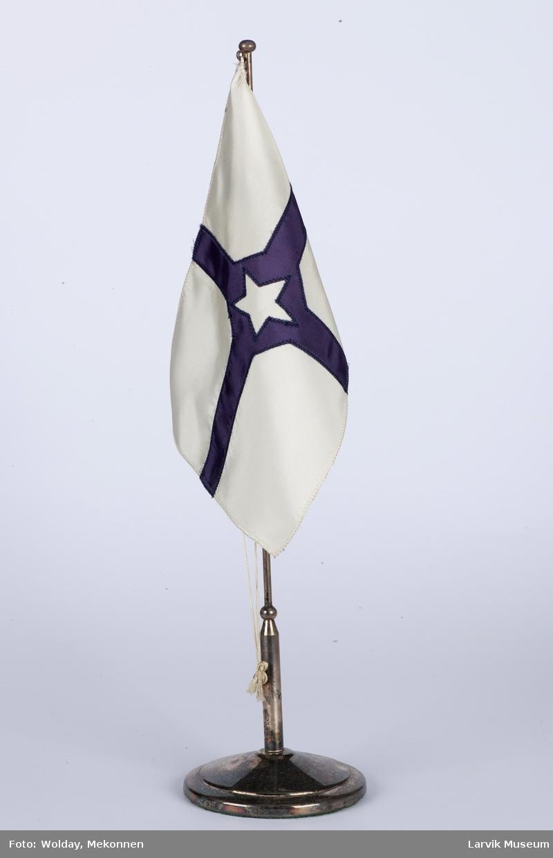 Bordflagg på sølv stang, rederiflagg