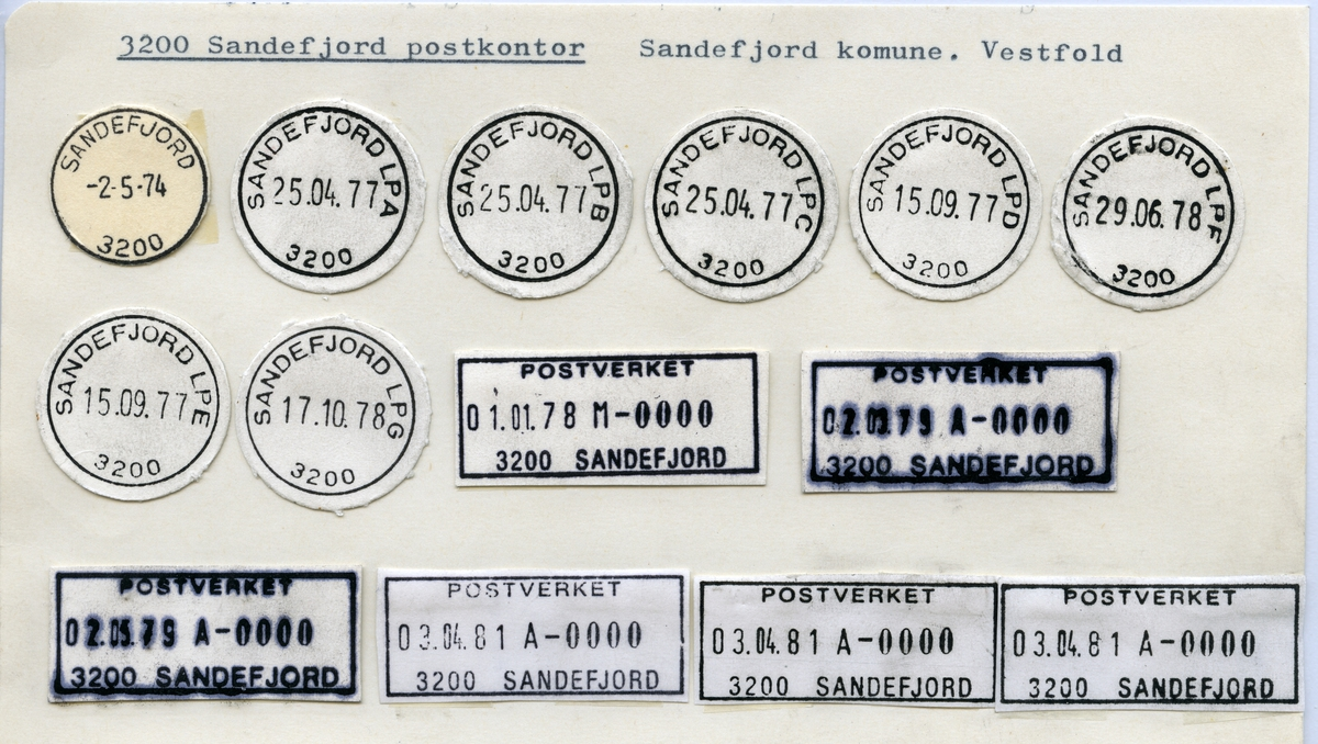 Stempelkatalog  3200 Sandefjord, Sandefjord kommune, Vestfold