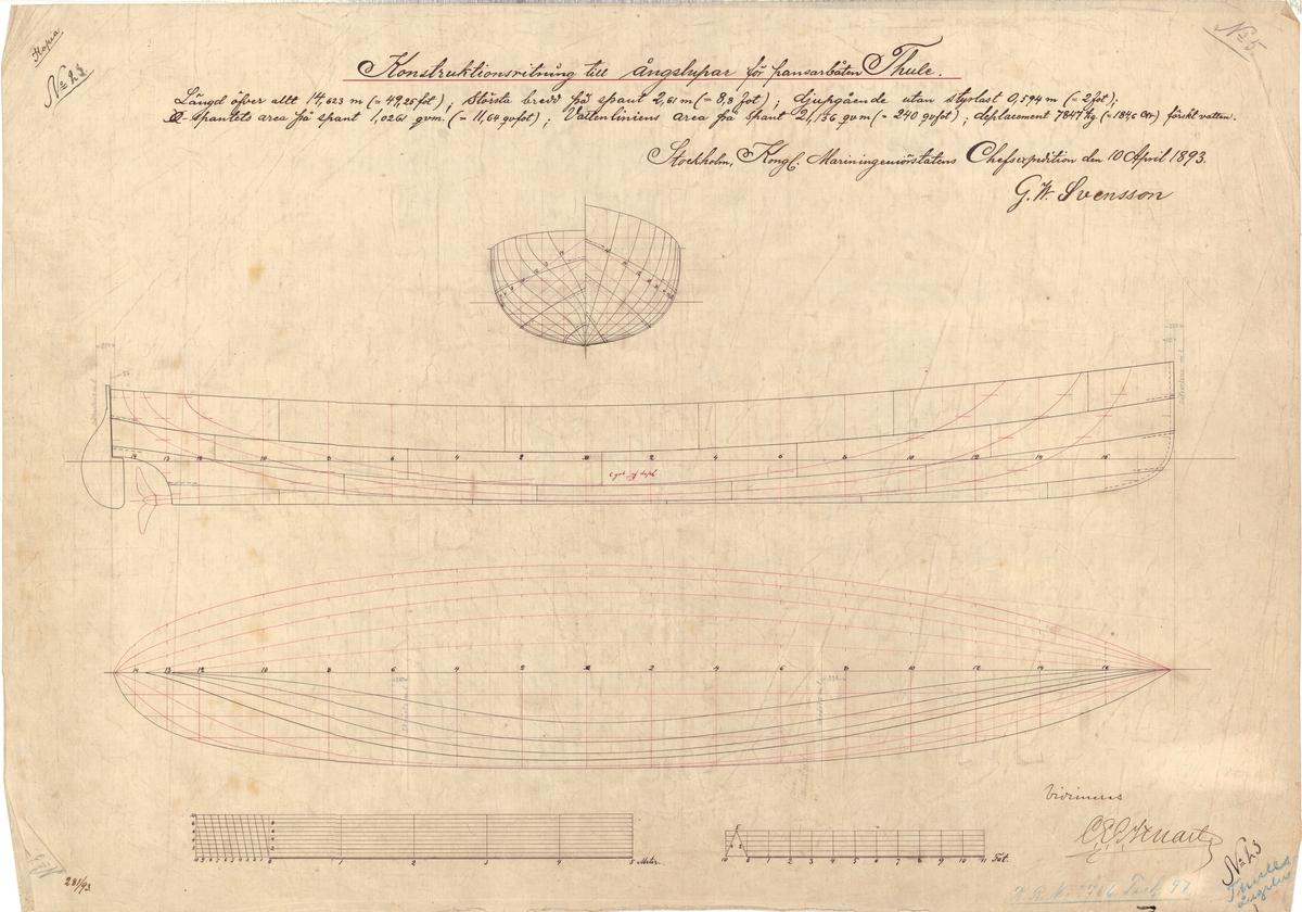 Ångslup till pansarbåten Thule Konstruktionsritning