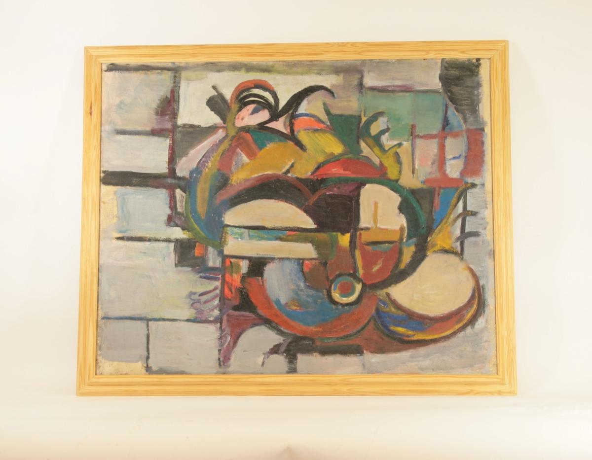 Abstrakt/non-figurativt maleri med rektangler på grålig bakgrunn, og fargerike avrundede former brutt av rette linjer i fokus.