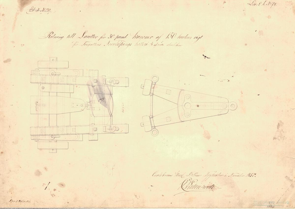 3 st ritning till transportlavett för 30 pundiga kanoner av 150 kulors vikt för fregatten Norrköpings batteri