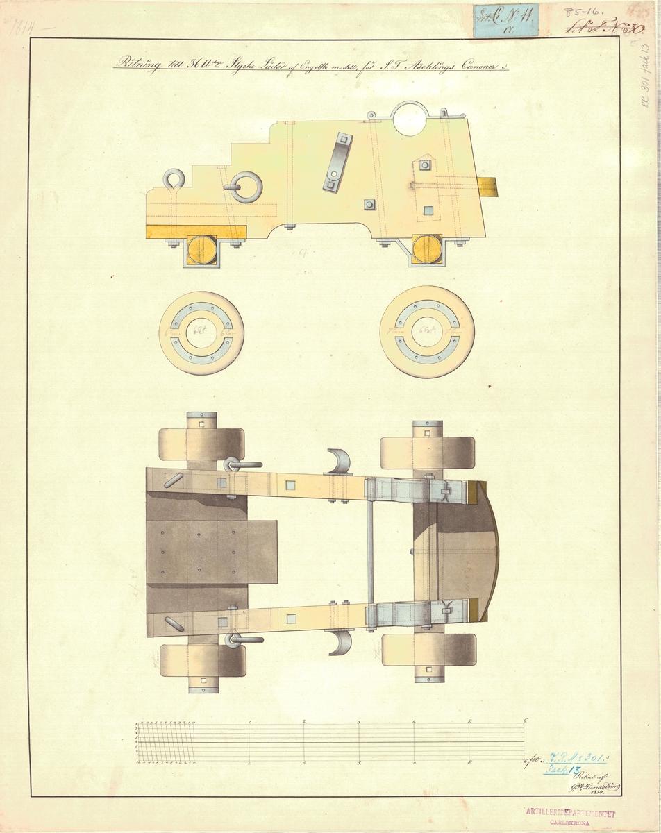 Ritning till 36 pundiga styckelådor av engelsk modell för Aschling kanoner