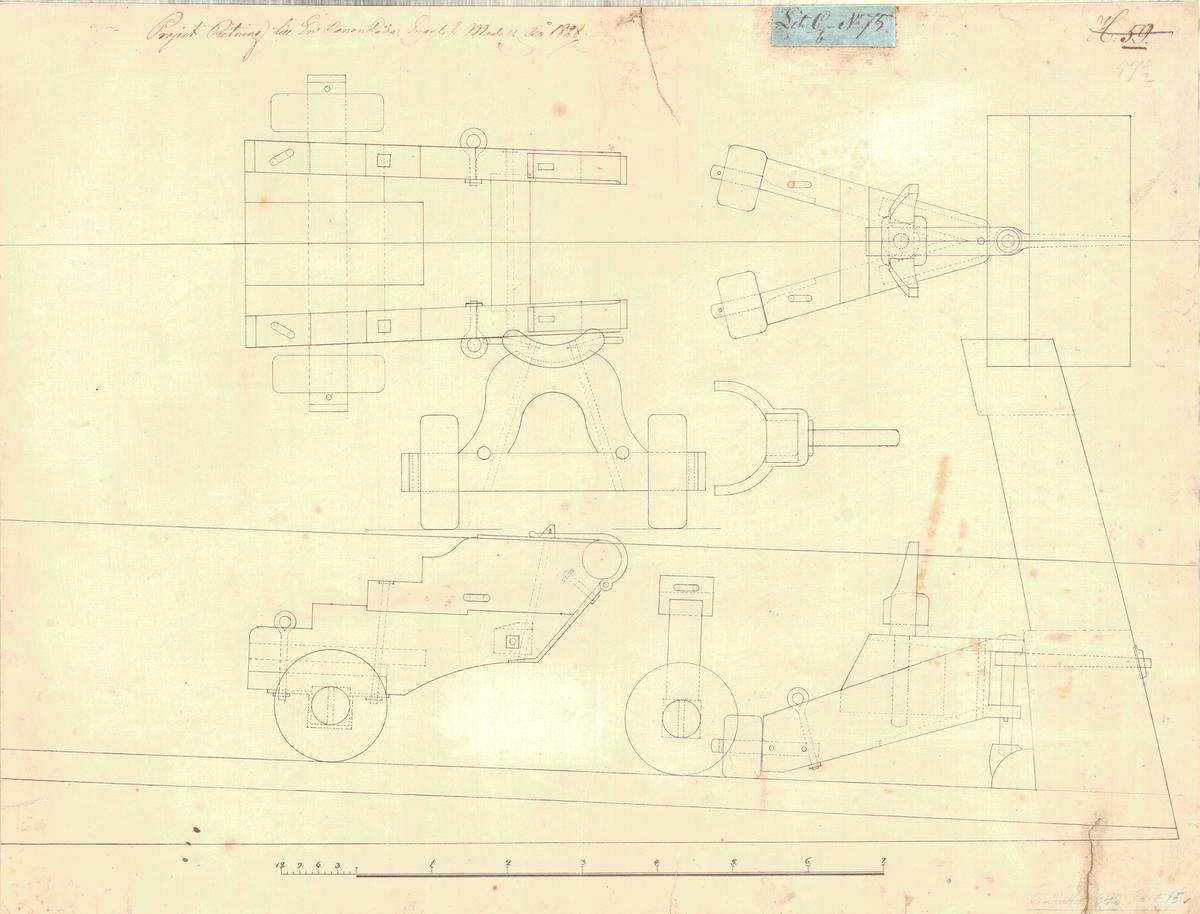Projektritning till en kanonlåda, engelsk modell