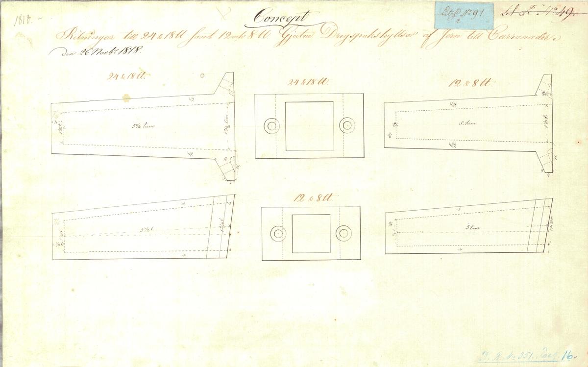 Konceptritning till 24, 18, 12 och 8 pundiga dreyspakshylsor av järn till karronader