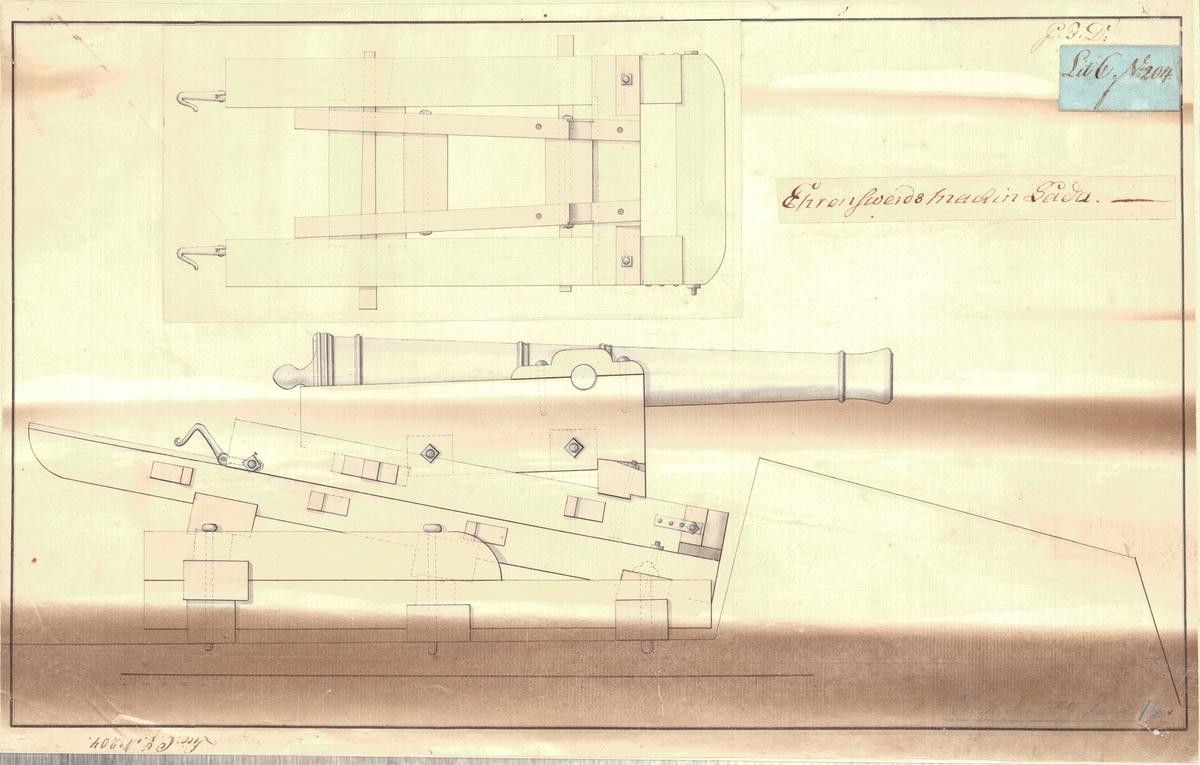 Ritning på Ehrensvärds machinlåda.