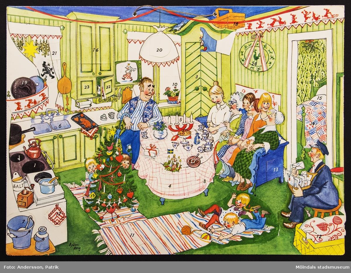 Sveriges Radios julkalender: Gumman som blev liten som en tesked,  som sändes på radion och i SVT 1 mellan den 3 -24 december 1976. Repris från 1967. Motivet på kalendern är tecknat av Björn Berg. I övre kanten på kalendern finns två hål med ett snöre för upphängning.