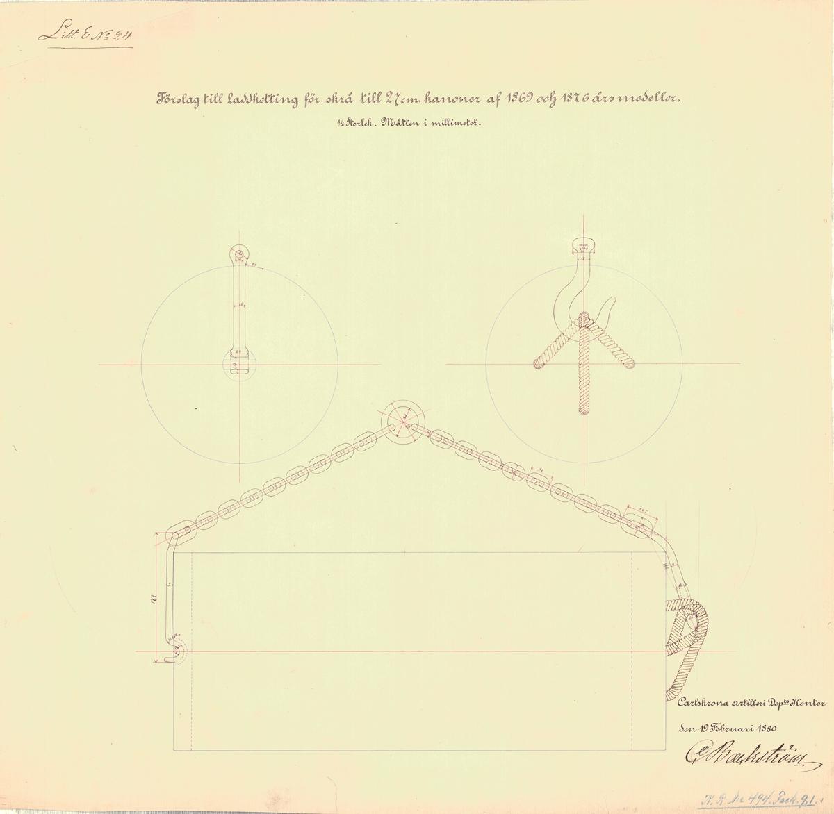 Ritning till laddkätting för skrå till 27 cm kanoner av 1869 års modeller
