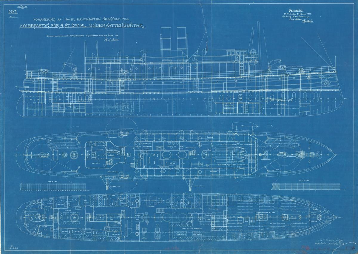 Ändring av kanonbåten till moderfatyg för ubåtar. Sammanställningsritning