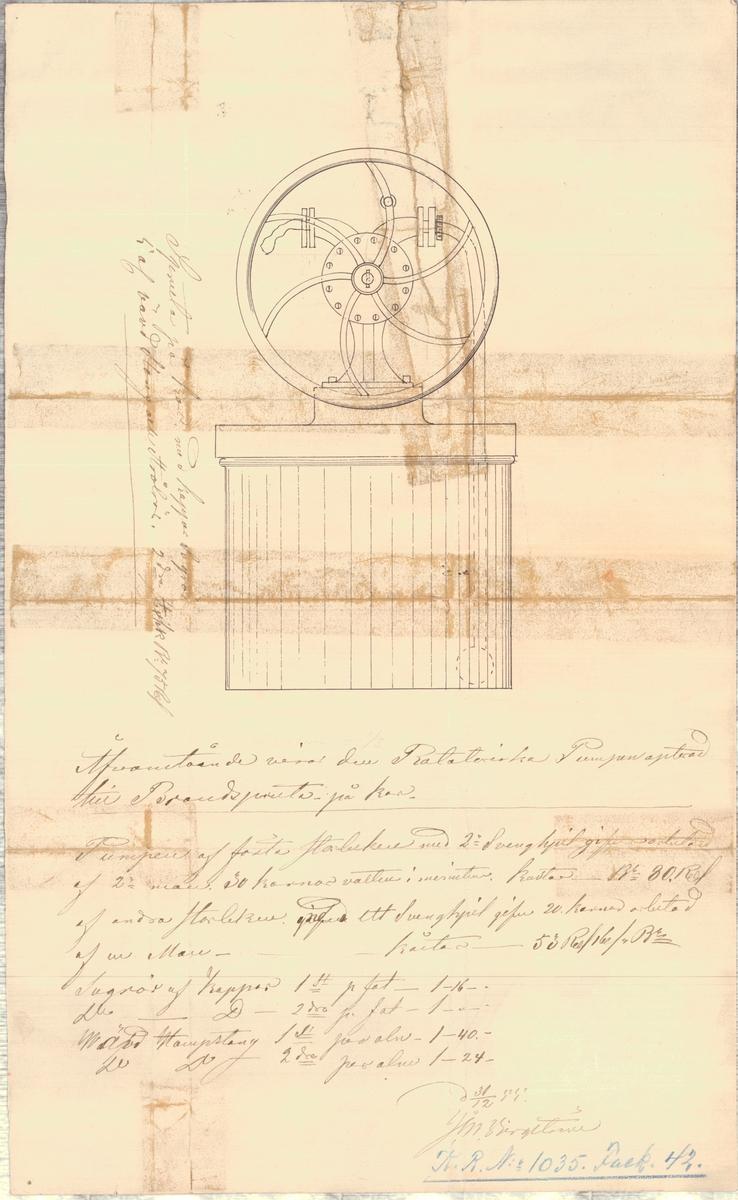 Ritning som visar den rotatoriska pumpen apterad till brandspruta på kar
