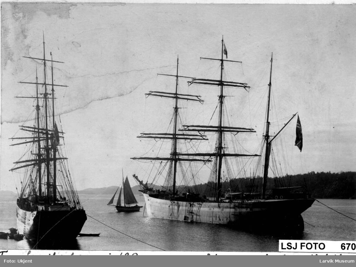 fartøy, seilskip, et treskip og et stålskip