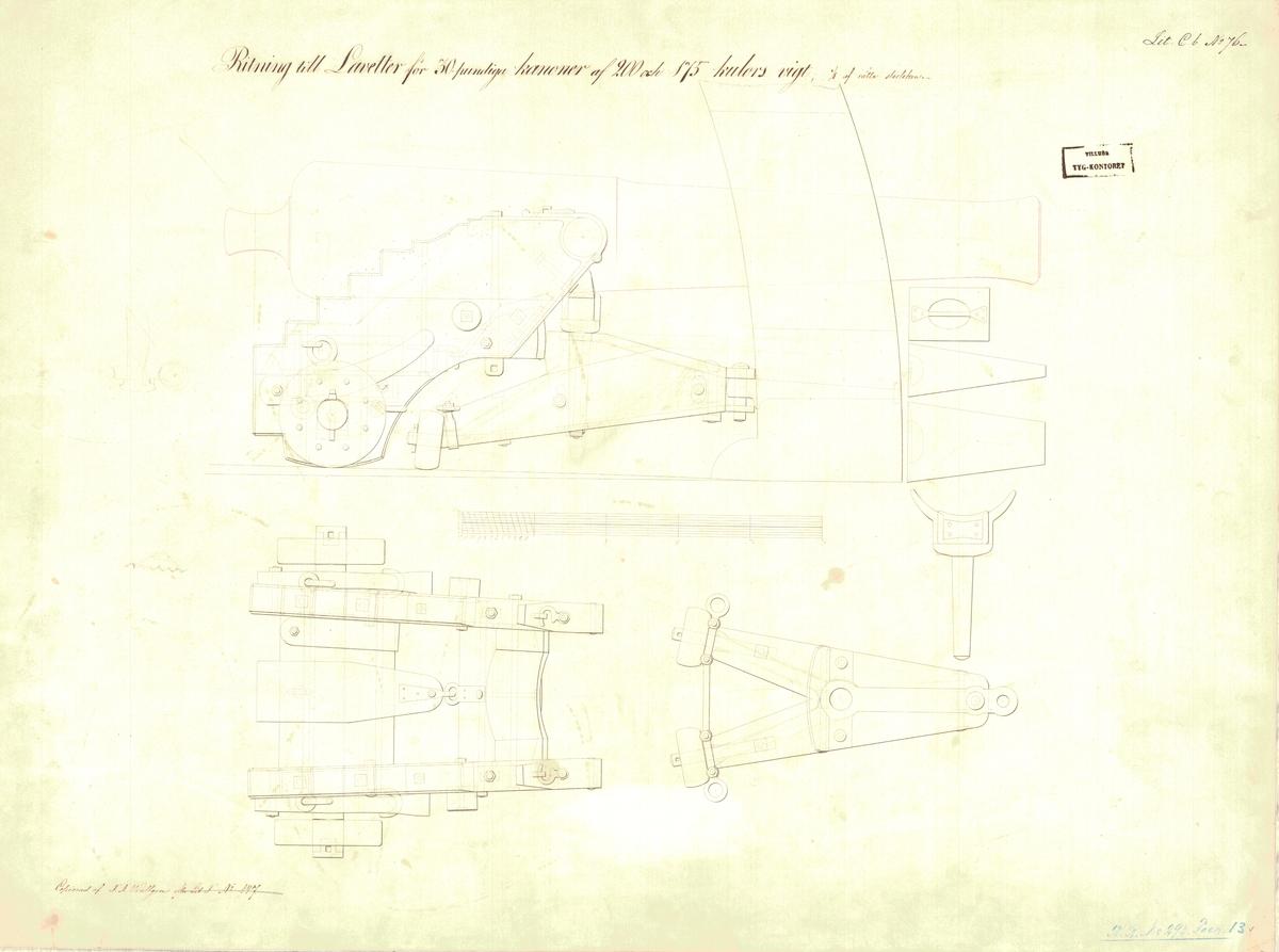 Ritning till lavetter för 30 pundiga kanoner av 200 och 175 kulors vikt