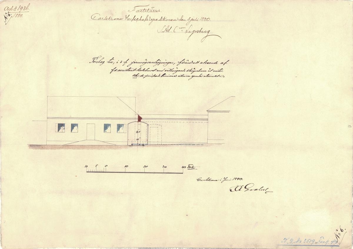 Ritning med förslag till, i och för järnvägsanläggningen, förändrat utseende av f.d. arrestant kokhuset med vidhängande stängselmur åt väster