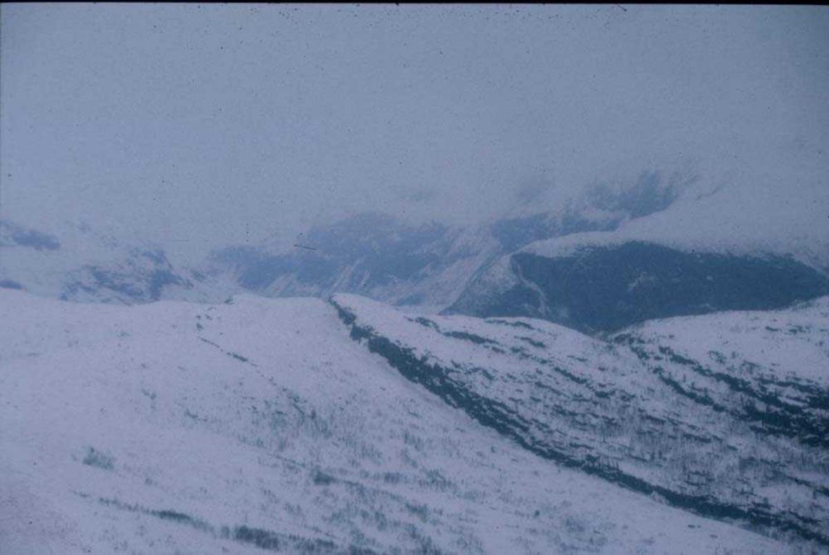 Landskap. Vinter. Snødekket fjell et sted på Vestlandet.