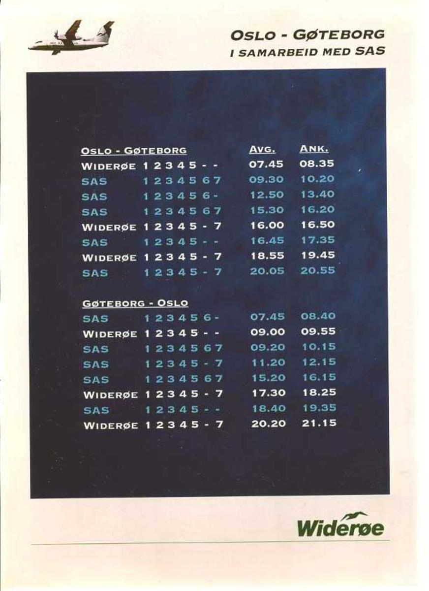 Reklame/Markedsføring. Plakat brukt av Widerøe til å markedsføre nye ruteområder 1995. Ruten Oslo - Gøteborg v.v. i samarbeid med SAS, som tidtabellen viser..